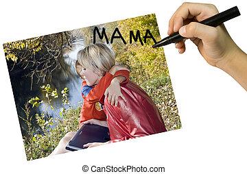 cartão, para, mãe