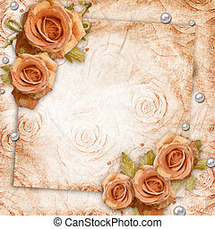cartão, para, saudação, ou, convite, ligado, a, vindima, rosas, fundo