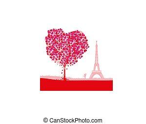 cartão, paris, abstratos, -, par, romanticos