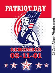 cartão, patriota, cartaz, saudação, 911, dia, americano