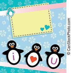 cartão, pingüim