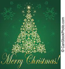 cartão postal, árvore, xmas