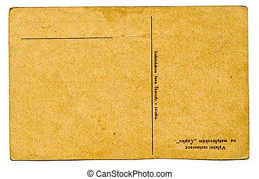 cartão postal, antigas, (back), vazio