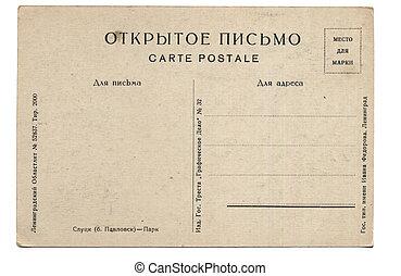 cartão postal, antigas, costas
