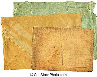 cartão postal, antigas, maior, envelopes, dois