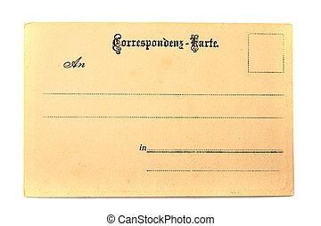 cartão postal, antigas, vazio