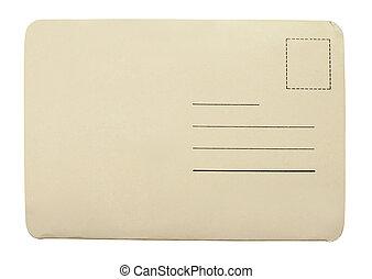 cartão postal, branca, antigas, isolado, fundo