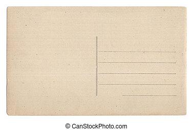 cartão postal, branca, antigas, isolado, vazio