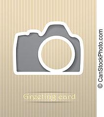 cartão postal, câmera foto, vetorial, ilustração