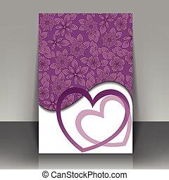 cartão postal, com, corações