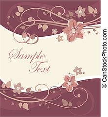 cartão postal, com, flores
