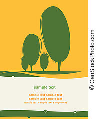 cartão postal, com, um, stylized, árvores