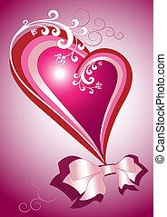 cartão postal, coração, vermelho, bow.