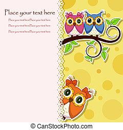 cartão postal, corujas, ramo