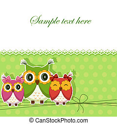 cartão postal, corujas, três