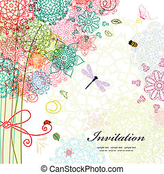 cartão postal, desenho, com, decorativo, árvore