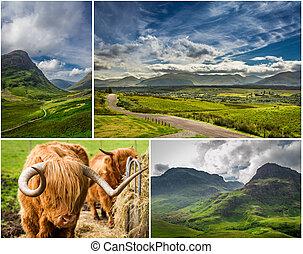cartão postal, ensolarado, altiplanos, escócia