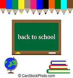cartão postal, escola, costas