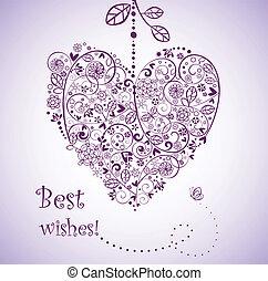cartão postal, forma coração, saudação, vindima