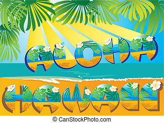 cartão postal, havaí, aloha