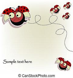 cartão postal, ladybugs, engraçado