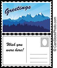 cartão postal, montanha, viagem, paisagem