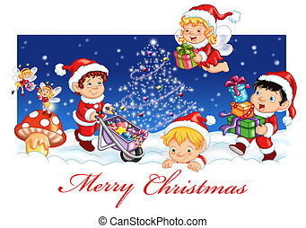 cartão postal, natal, feliz