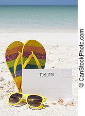 cartão postal, praia areia, em branco