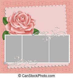 cartão postal, quadro fotografia, em branco, casório, ou