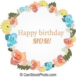 cartão postal, s, flowers., dia, mãe