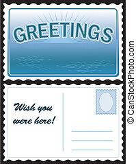 cartão postal, saudações
