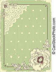 cartão postal, texto, fundo pastel, floral, .vector, vindima...