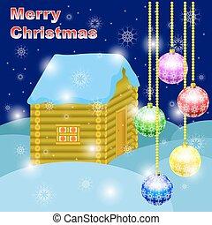 cartão postal, vetorial, natal, feliz