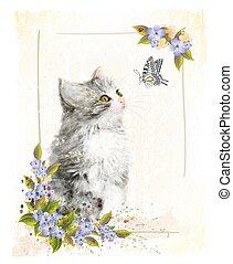 cartão postal, vindima, aquarela, imitação, kitten., painting.
