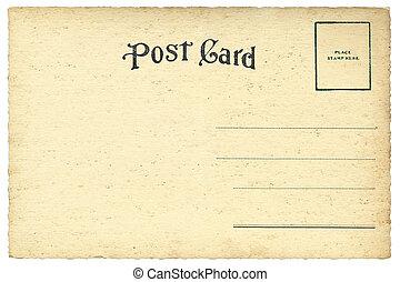 cartão postal, vindima, costas, em branco