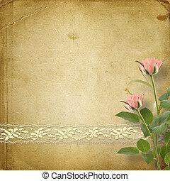 cartão postal, vindima, fitas, parabéns, rosas