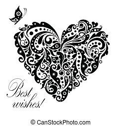 cartão postal, vindima, forma, coração