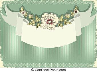 cartão postal, vindima, fundo, texto, floral, .flowers