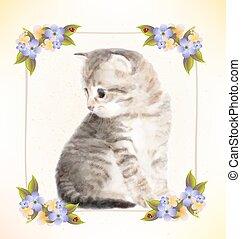 cartão postal, vindima, kitten.