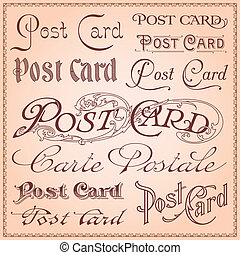 cartão postal, vindima, letterings