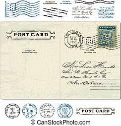 cartão postal, vindima, vetorial, jogo