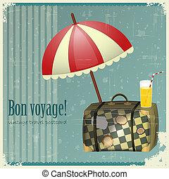 cartão postal, vindima, viagem