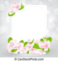 cartão presente, com, maçã, flor