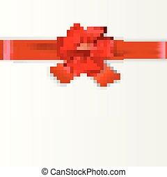 cartão, presente, desenho, arco, vermelho