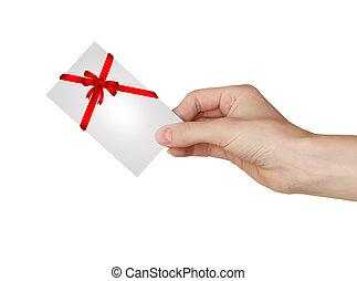 cartão, presente, espaço, isolado, mão, fita, segurando, branca, vazio, vermelho