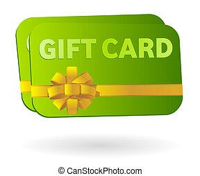 cartão presente, fita, isolado