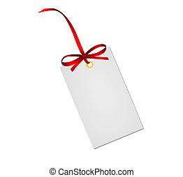 cartão presente, nota, com, fita vermelha, arco, isolado,...