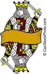 cartão, rei, estilo, tocando, ilustração