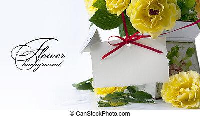 cartão, rosa, arte, saudação, amarela
