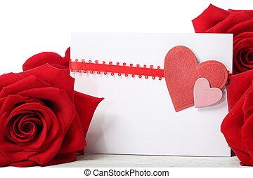 cartão, rosas, saudação, vermelho, corações
